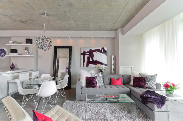 Contemporary-Design-of-Living-Room-Applied-Gray-Sectional-Sofas-with-Chaise-and-Acrylic-Coffee-Table-also-Barcelona-Chair
