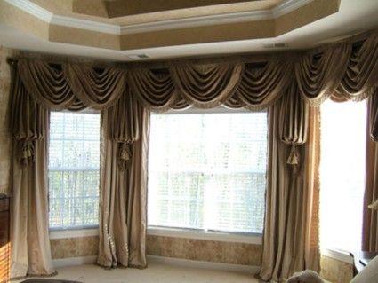 фото штор в эркере гостиной